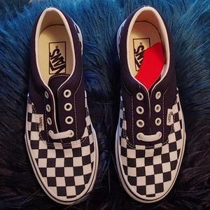 Navy Blue Checkered Vans